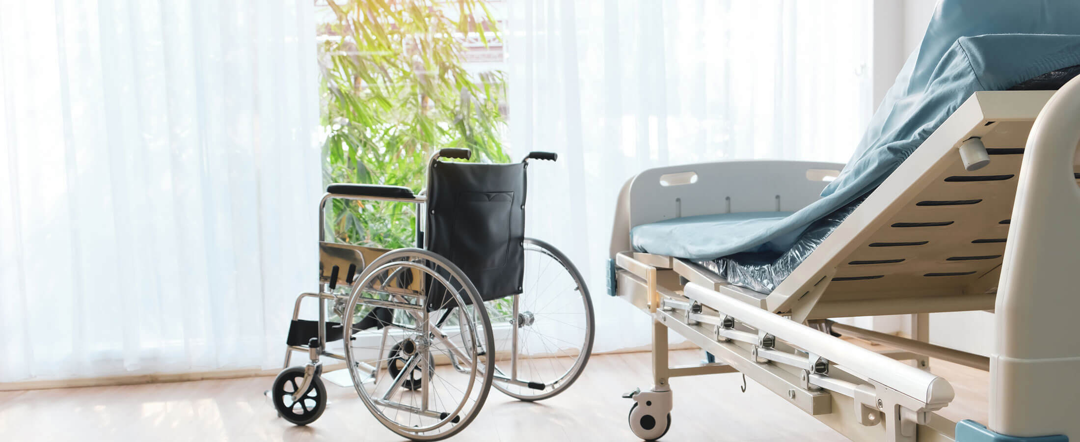 Hospital Room with Wheelchair and Bed